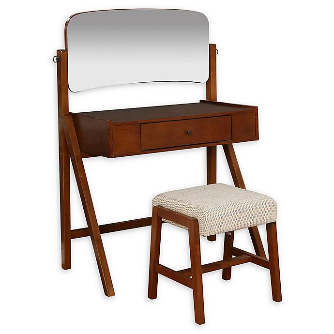 Alternate image 1 for Linon Home Annmarie 2-Piece Vanity Set in Brown