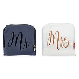 """Miamica® """"Mr."""" and """"Mrs."""" 2-Piece Travel Laundry Bags in White"""