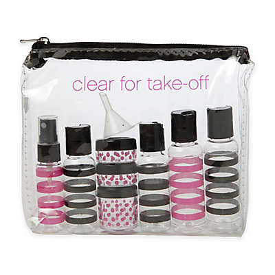 "Miamica® ""Clear for Take-Off"" 15-Piece Travel Bottle and Bag Set in Black"