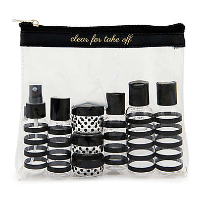 "Miamica® ""Clear for Take-Off"" 12-Piece Travel Bottle and Bag Set in Black"