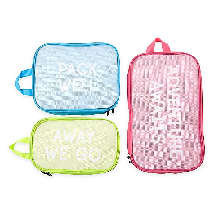 Alternate image 1 for Miamica® Adventure Awaits 3-Piece Packing Cube Set in Pink