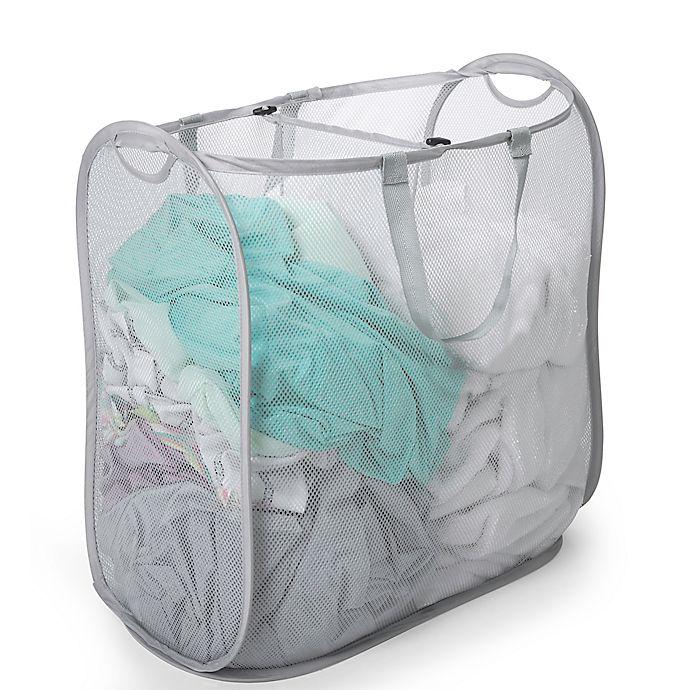 Alternate image 1 for Smart Design 2-Compartment Pop-Up Laundry Sorter Hamper in Grey