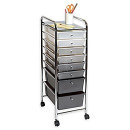 Seville Classics 8-Drawer Storage Bin Organizer Cart in White/Grey/Black