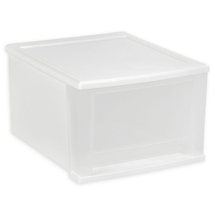Alternate image 1 for IRIS® 17 qt. Stacking Drawer Storage Bin in White