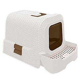 CatLife Covered Litter Box in Faux White Wicker