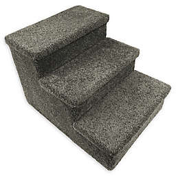 Dog/CatLife 3-Step Carpeted Pet Stairs in Grey
