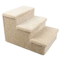 Dog/CatLife 3-Step Carpeted Pet Stairs in Beige