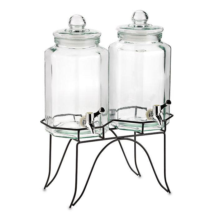 Alternate image 1 for Home Essentials Del Sol Twin 1-Gallon Beverage Dispensers on Metal Rack