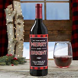 """Merry & Bright"" Plaid Wine Bottle Label"