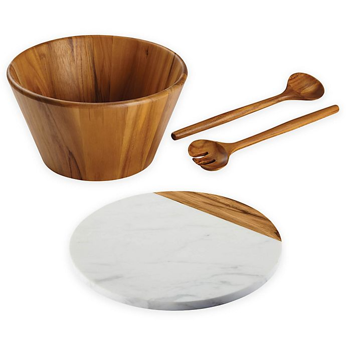Alternate image 1 for Anolon® Pantryware White Marble and Teak Serveware Collection