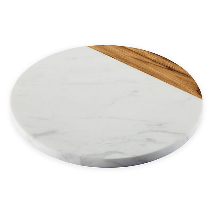 Alternate image 1 for Anolon® Pantryware 10-Inch Round Serving Board in White Marble/Teak