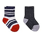 Cuddl Duds® Size 12-24M 2-Pack Crew Socks in Navy/Grey