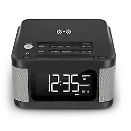 Wireless Clock Radio with Wireless Charging in Black