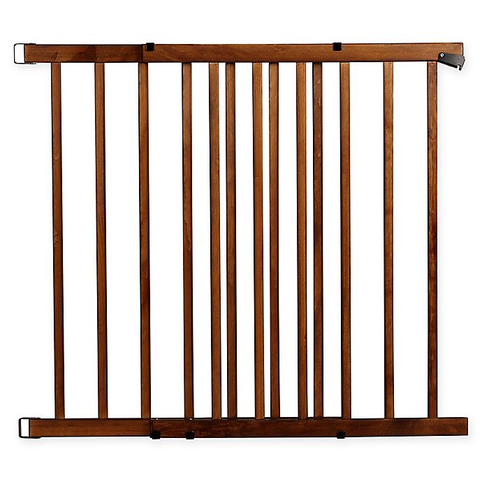 Alternate image 1 for Evenflo® Walk-Thru™ Farmhouse Hardware-Mount Stairway Safety Gate in Brown