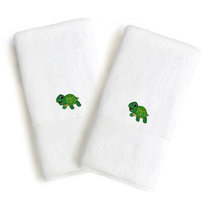 Alternate image 1 for Linum Home Textiles Kids Turtle Terry Hand Towels (Set of 2)