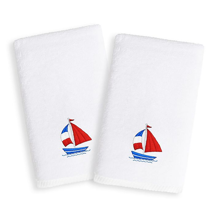 Alternate image 1 for Linum Home Textiles Kids Boat Terry Hand Towels (Set of 2)