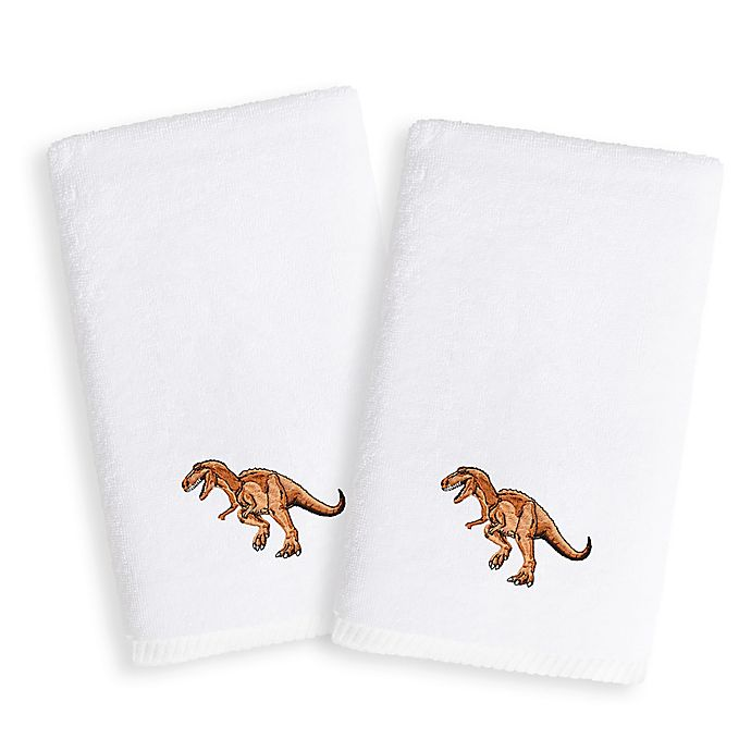 Alternate image 1 for Linum Home Textiles Kids Dinosaur Terry Hand Towels (Set of 2)