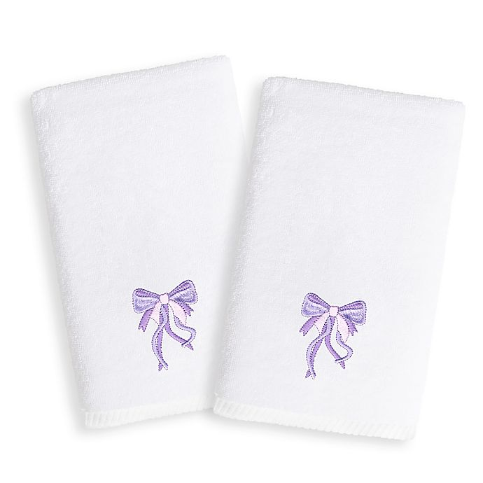 Alternate image 1 for Linum Home Textiles Kids Bow Terry Hand Towels in Purple/White (Set of 2)