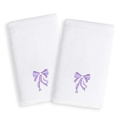 Linum Home Textiles Kids Bow Terry Hand Towels in Purple/White (Set of 2)