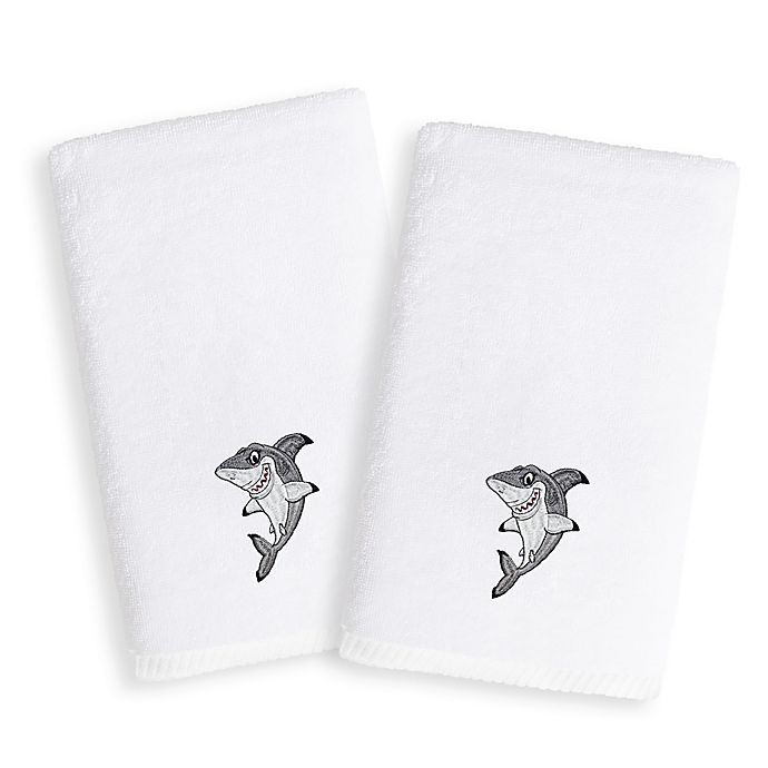 Alternate image 1 for Linum Home Textiles Kids Shark Terry Hand Towels (Set of 2)