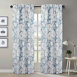 Nouvelle Home Chambray Floral 2-Piece Curtain Panel Set in Blue/White
