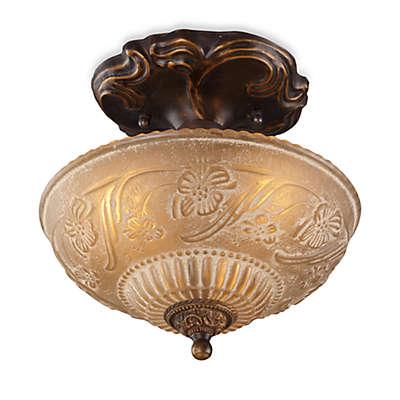 ELK Lighting Restoration 10-Inch 3-Light Semi-Flush Fixture in Antique Golden Bronze