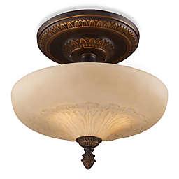 ELK Lighting Restoration 15-Inch 3-Light Semi-Flush Fixture in Antique Golden Bronze