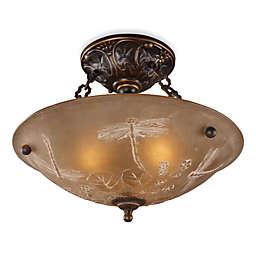 ELK Lighting Restoration 12-Inch 3-Light Semi-Flush Fixture in Antique Golden Bronze