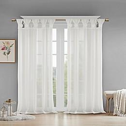 Madison Park Rosette Floral Cuff Twist Tab Window Curtain Panel