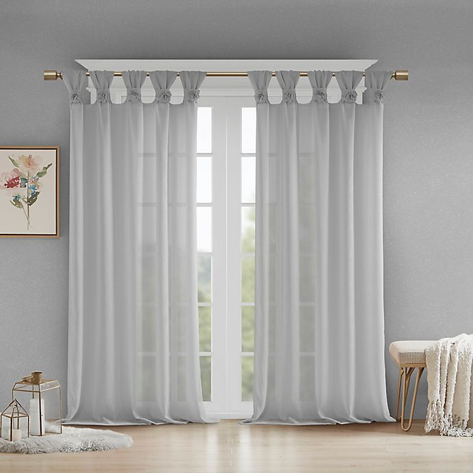 Alternate image 1 for Madison Park Rosette Floral Cuff 84-Inch Twist Tab Window Curtain Panel in Grey (Single)