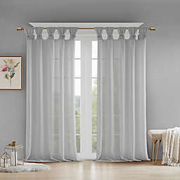 Madison Park Rosette Floral Cuff 84-Inch Twist Tab Window Curtain Panel in Grey