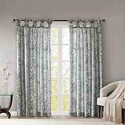 Madison Park Yvette Paisley Printed 63-Inch Twist Tab Window Curtain Panel in Grey