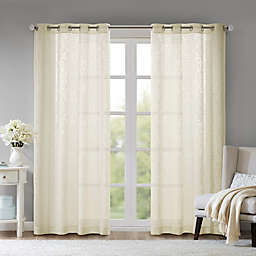 Madison Park Edwin Damask Burnout Sheer Grommet Window Curtain Panel