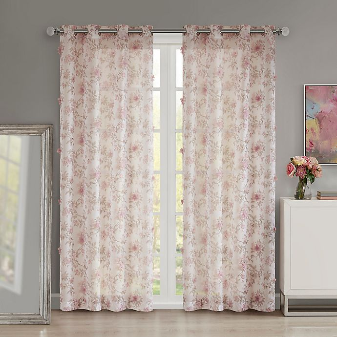 Alternate image 1 for Madison Park Idalia Floral Printed Sheer 84-Inch Grommet Window Curtain Panel in Blush