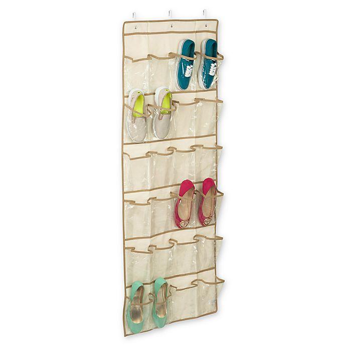Alternate image 1 for Honey-Can-Do® Over-the-Door 24-Pocket Shoe Organizer in Beige