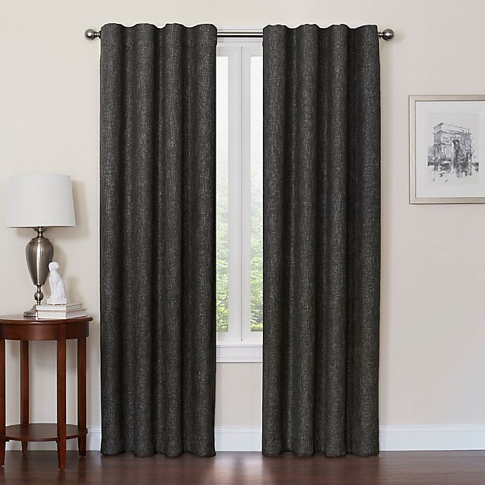 Alternate image 1 for Quinn 63-Inch 100% Blackout Insulated Rod Pocket/Back Tab Window Curtain Panel in Black