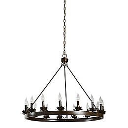Lotus 15-Light Ring Chandelier in Black