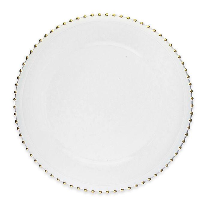 Alternate image 1 for Elle Decor® Beaded Charger Plates in White/Gold (Set of 4)