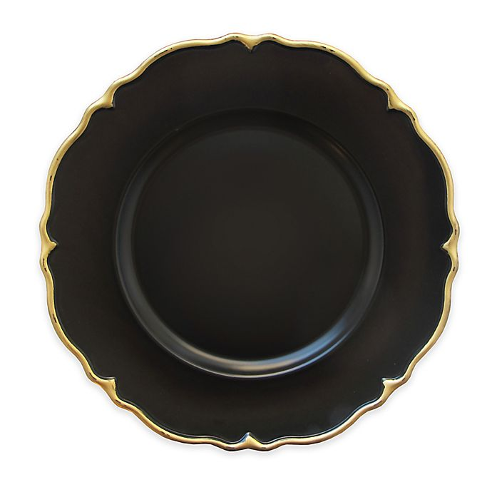 Elle Decor 174 Scalloped Charger Plates In Black Gold Set Of