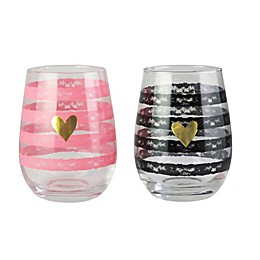 Style Setter Soho His & Hers Stemless Wine Glasses (Set of 2)