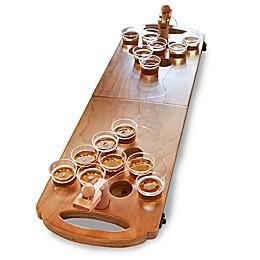 Polished Wooden Mini Beer Pong Set