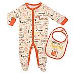 "Baby Starters® Newborn ""Everyone Thankful"" 2-Piece Footie and Bib Set in Ivory"