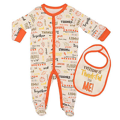 "Baby Starters® ""Everyone Thankful"" 2-Piece Footie and Bib Set in Ivory"