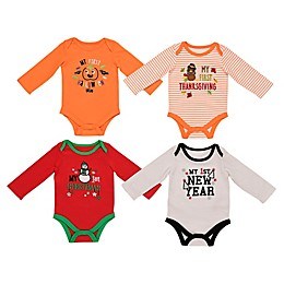Baby Starters® 0-3M and 3-6M 4-Pack My First Holiday See Me Grow Bodysuit Set