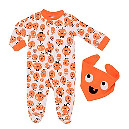 Baby Starters® 2-Piece Mod Halloween Pumpkin Coverall and Bib Set