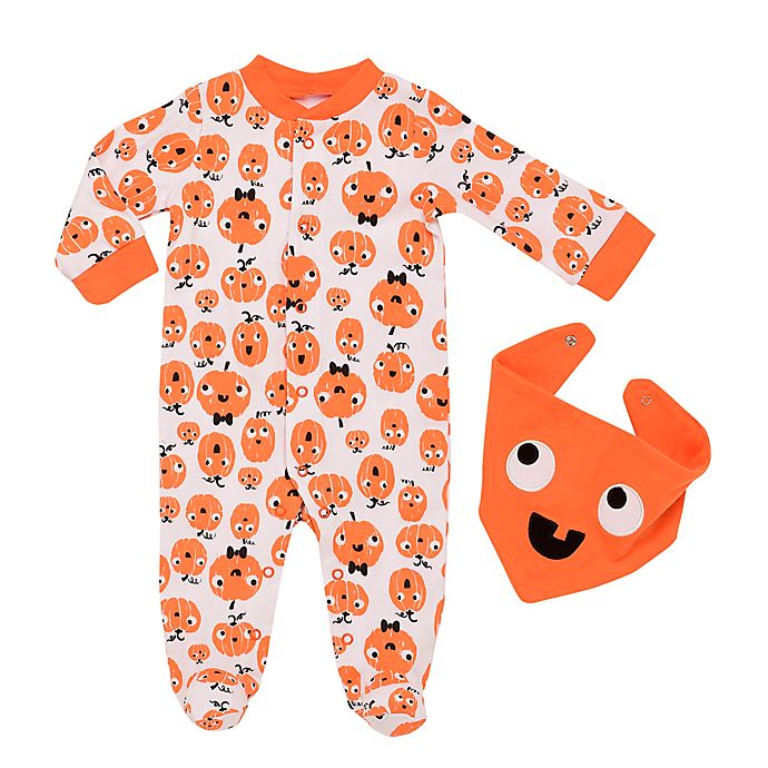 Alternate image 1 for Baby Starters® 2-Piece Mod Halloween Pumpkin Coverall and Bib Set