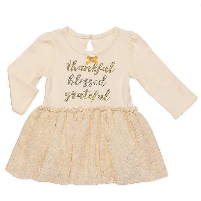 Alternate image 1 for Baby Starters® Holiday Dress with Attached Bodysuit in Ivory