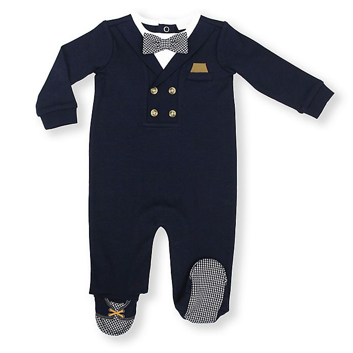 Alternate image 1 for Suit Footed Coverall in Navy