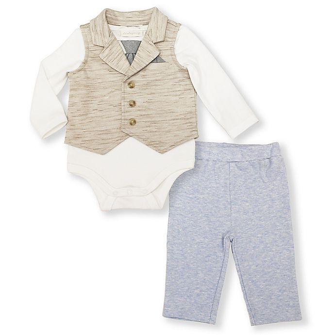 Alternate image 1 for 3-Piece Bodysuit, Vest, and Pants Set in Tan