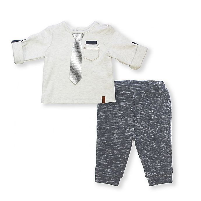 Alternate image 1 for 2-Piece Tie Shirt and Pants Set in Grey